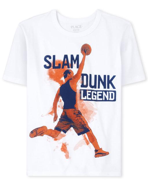 Boys Short Sleeve 'Slam Dunk Legend' Basketball Graphic Tee