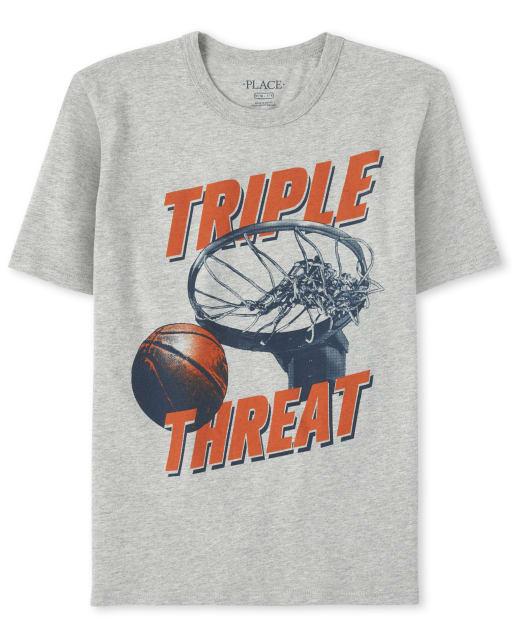 Boys Short Sleeve 'Triple Threat' Basketball Graphic Tee
