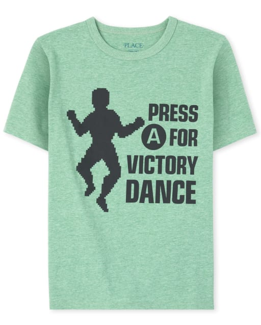 Boys Short Sleeve 'Press A For Victory Dance' Graphic Tee
