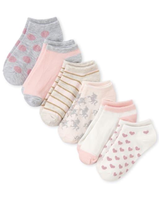 Girls Glitter Unicorn Heart Dot And Striped Print Ankle Socks 6-Pack