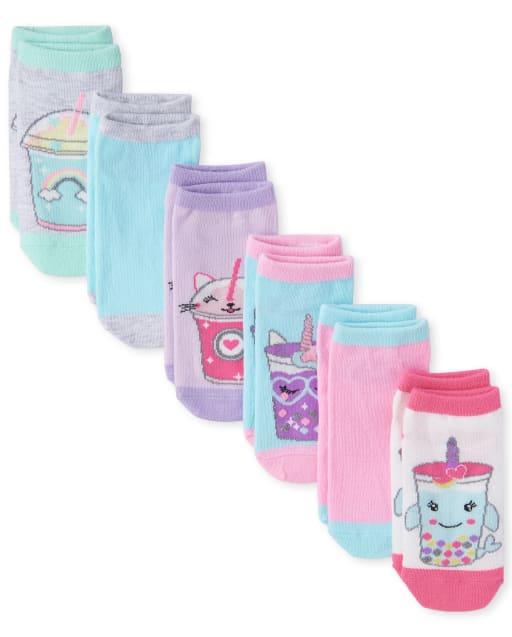 Girls Glitter Critter Frappe Ankle Socks 6-Pack