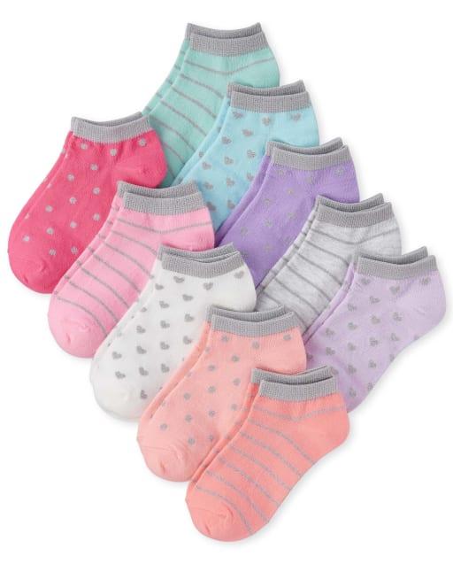 Girls Glitter Striped Heart And Dot Print Ankle Socks 10-Pack