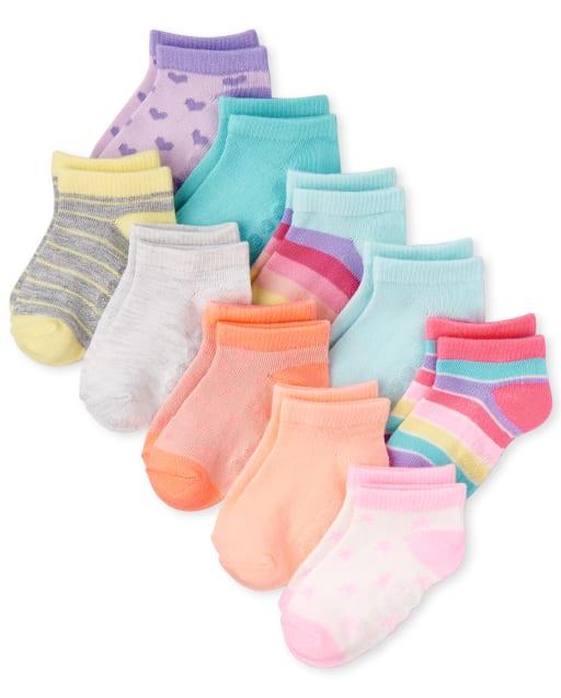 Toddler Girls Striped Ankle Socks 10-Pack