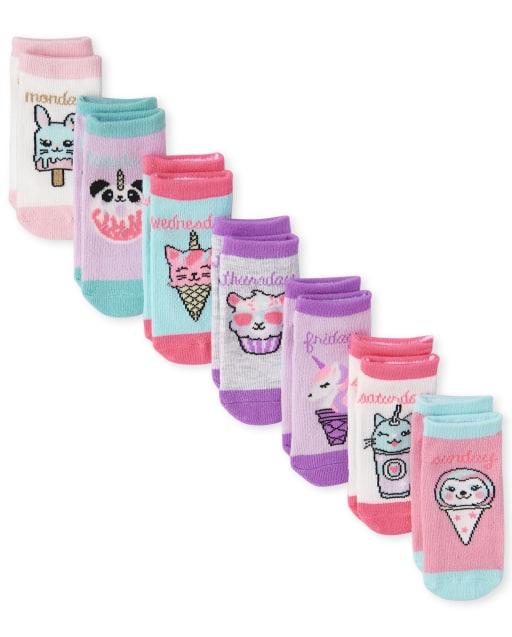 Calcetines midi Critter Midi para niñas pequeñas, paquete de 7