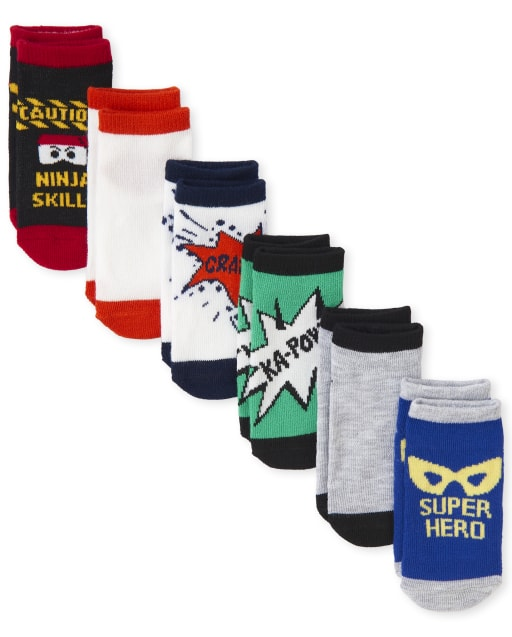 Toddler Boys Ninja And Super Hero Ankle Socks 6-Pack