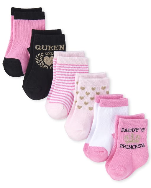 Baby Girls Glitter 'Queen' And 'Daddy's Princess' Midi Socks 6-Pack