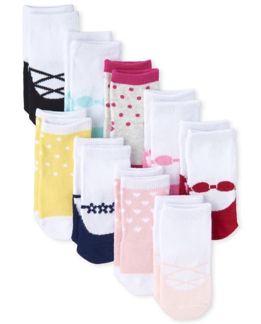 Baby Girls Shoe Print Midi Socks 9-Pack