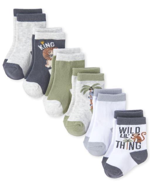 Baby Boys 'Wild Lil' Thing' Animal Midi Socks 6-Pack