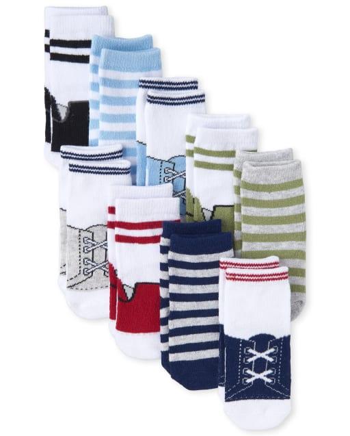 Baby Boys Shoe Print And Striped Midi Socks 9-Pack