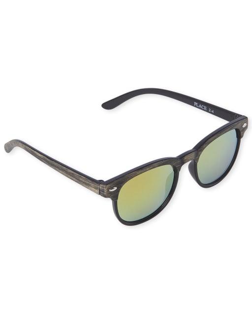 Toddler Boys Faux Wood Retro Sunglasses