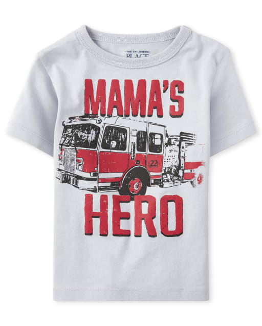 Baby And Toddler Boys Short Sleeve 'Mama's Hero' Fire Truck Graphic Tee