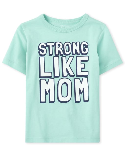 Baby And Toddler Boys Short Sleeve 'Strong Like Mom' Graphic Tee