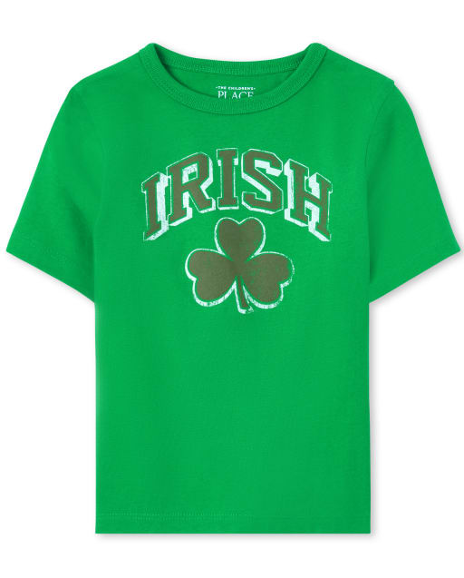 Baby And Toddler Boys Matching Family St. Patrick's Day Short Sleeve 'Irish' Shamrock Graphic Tee