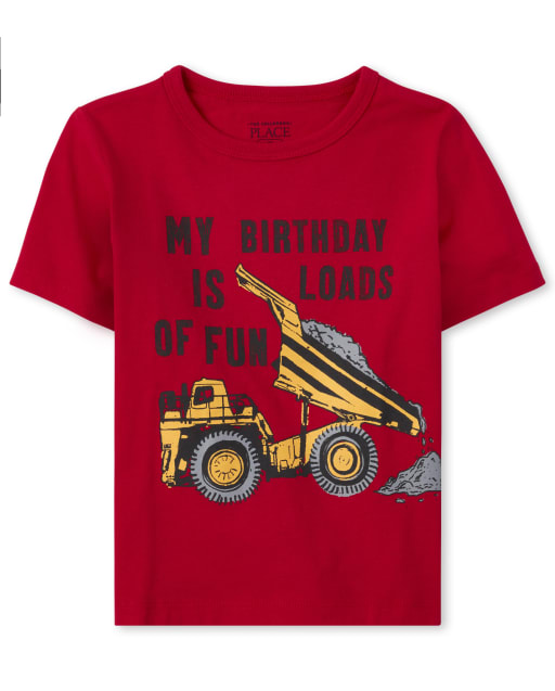 Baby And Toddler Boys Short Sleeve 'My Birthday Is Loads Of Fun' Construction Graphic Tee