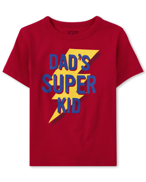 Baby And Toddler Boys Short Sleeve 'Dad's Super Kid' Graphic Tee