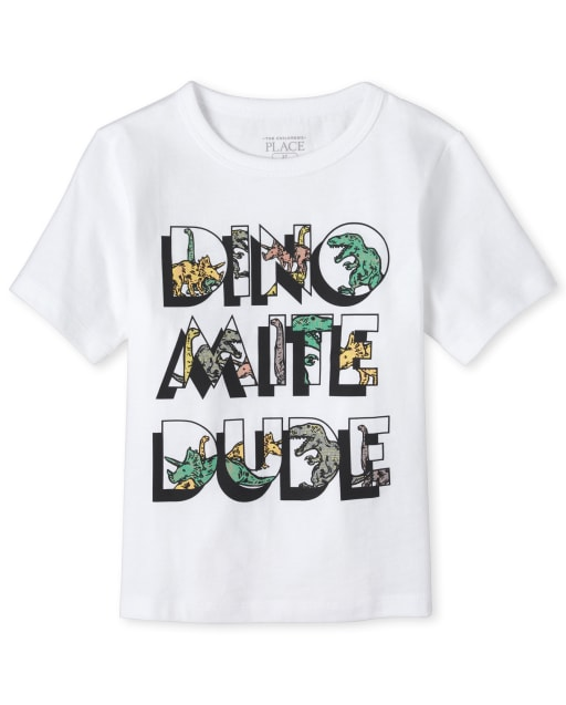 Baby And Toddler Boys Short Sleeve 'Dino Mite Dude' Matching Graphic Tee