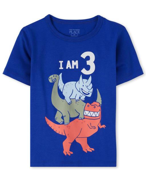 Toddler Boys Birthday Short Sleeve Dino '3' Graphic Tee