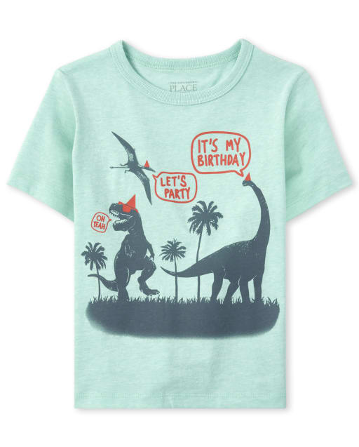Baby And Toddler Boys Short Sleeve 'It's My Birthday' 'Let's Party' Dino Graphic Tee