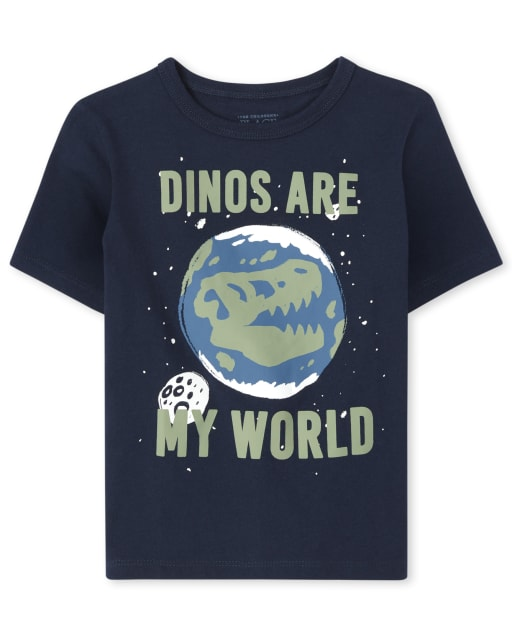 Baby And Toddler Boys Short Sleeve 'Dinos Are My World' Graphic Tee