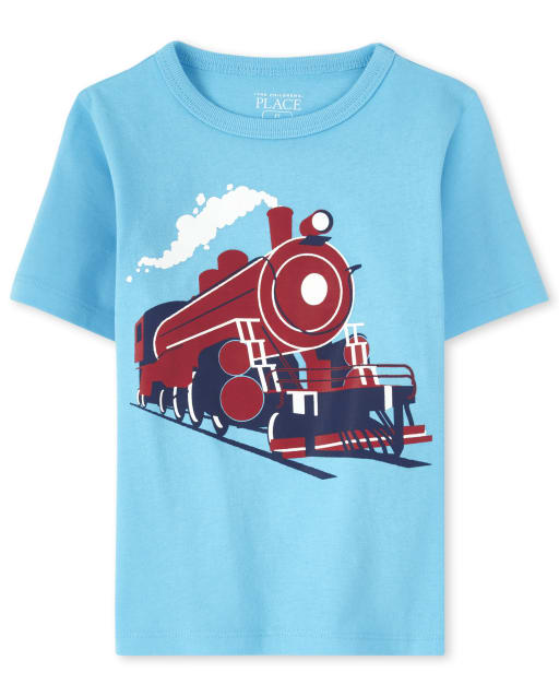 Baby And Toddler Boys Short Sleeve Train Graphic Tee