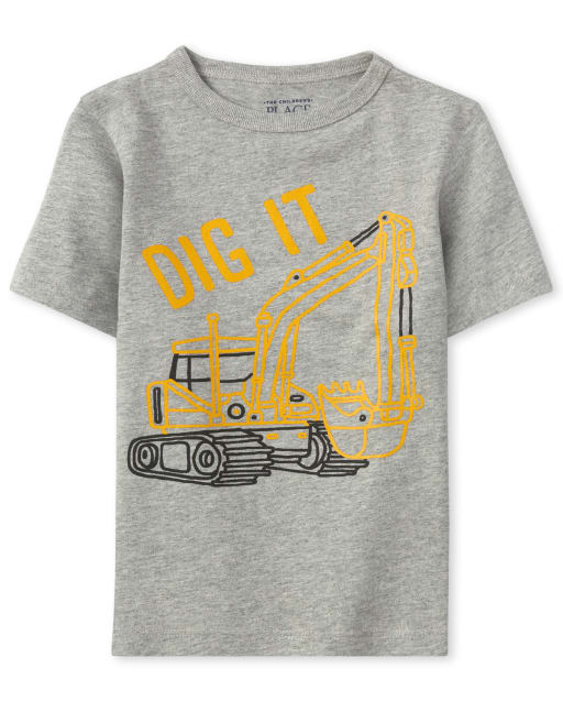Baby And Toddler Boys Short Sleeve 'Dig It' Construction Graphic Tee