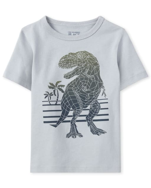 Baby And Toddler Boys Short Sleeve Geometric Dino Graphic Tee