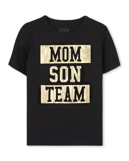 Baby And Toddler Boys Matching Family Short Sleeve Foil 'Mom Son Squad' Graphic Tee