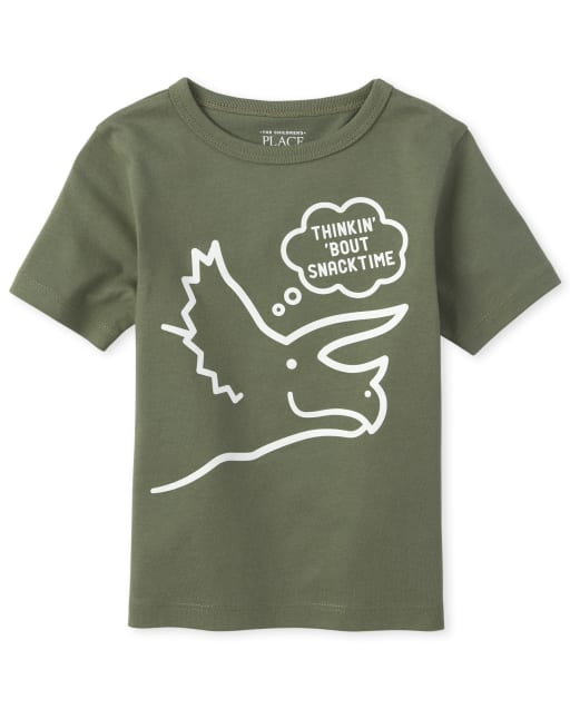 Baby And Toddler Boys Short Sleeve 'Thinkin' 'Bout Snack Time' Dino Graphic Tee