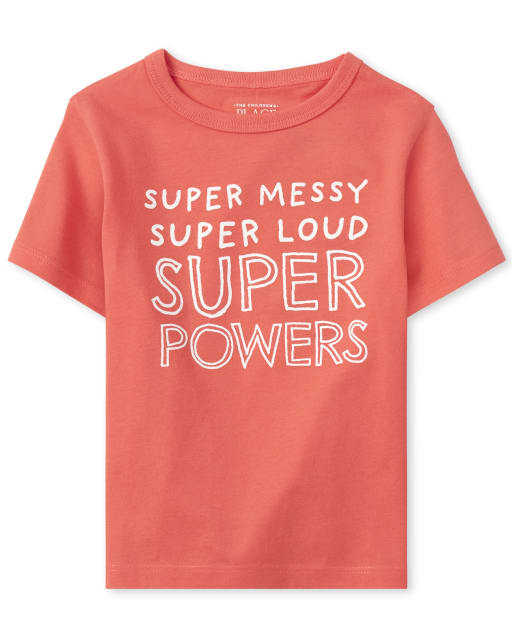 Baby And Toddler Boys Short Sleeve 'Super Messy Super Loud Super Powers' Graphic Tee