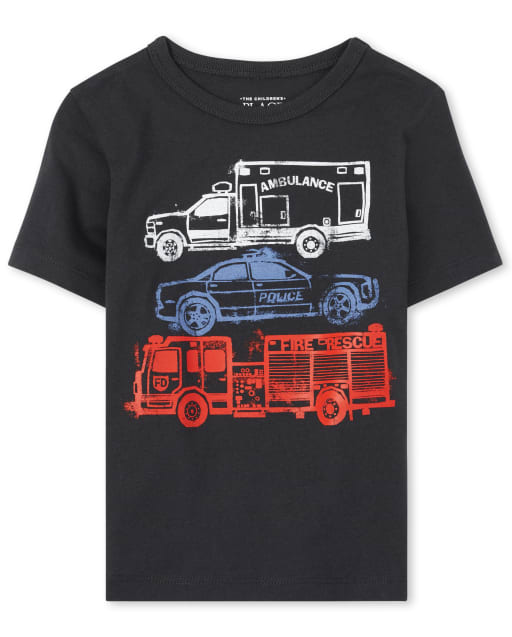 Baby And Toddler Boys Short Sleeve Fire Truck Police Car And Ambulance Graphic Tee