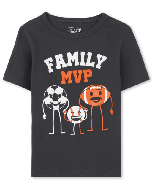 Baby And Toddler Boys Short Sleeve 'Family MVP' Sports Graphic Tee