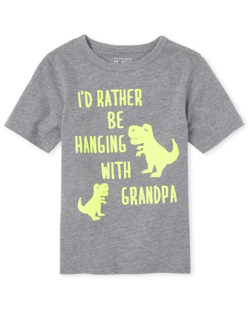 Baby And Toddler Boys Short Sleeve 'I'd Rather Be Hanging With Grandpa' Dino Graphic Tee