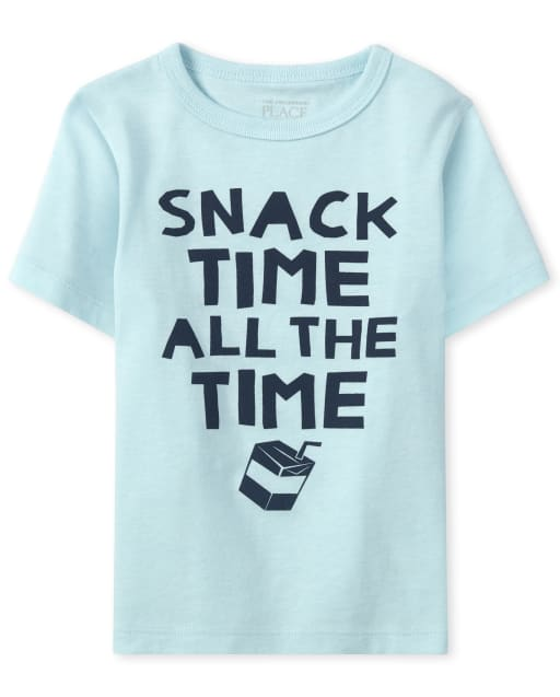 Baby And Toddler Boys Short Sleeve 'Snack Time All The Time' Graphic Tee