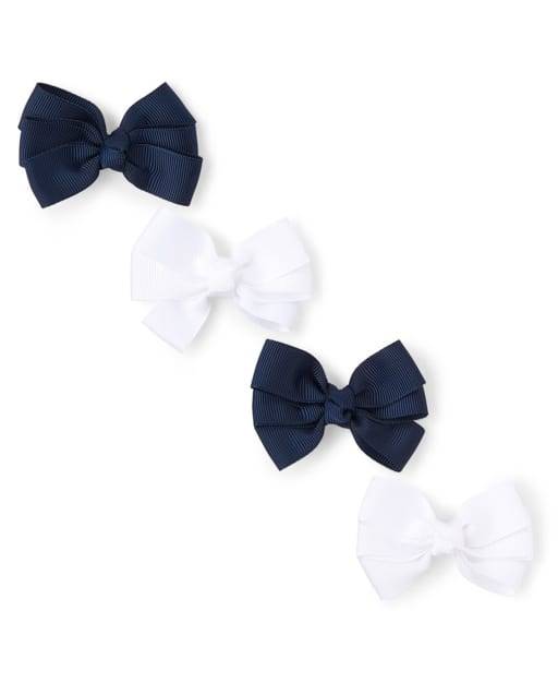 Paquete de 4 pinzas para el cabello con lazo uniforme para niñas