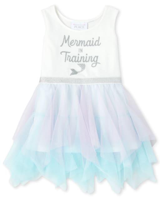 Baby And Toddler Girls Sleeveless Glitter 'Mermaid In Training' Knit To Woven Tutu Dress
