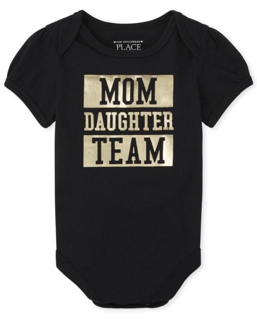 Baby Girls Short Sleeve Matching Family Foil 'Mom Daughter Team' Graphic Bodysuit