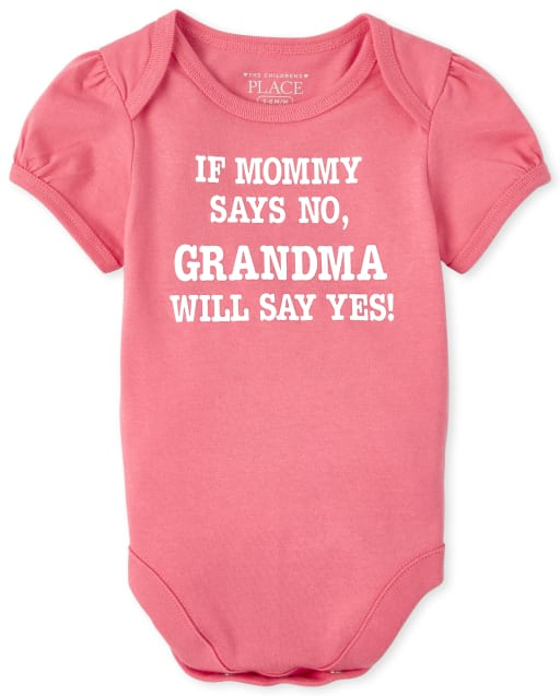 Baby Girls Short Sleeve Glitter 'If Mommy Says No Grandma Will Say Yes' Graphic Bodysuit