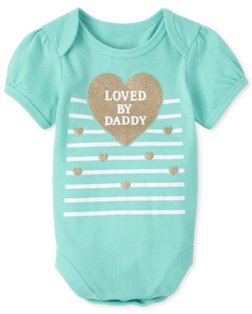 Baby Girls Short Sleeve Glitter 'Loved By Daddy' Matching Graphic Bodysuit