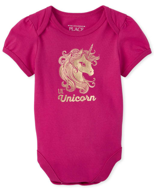 Baby Girls Mommy And Me Short Sleeve 'Mini Unicorn' Matching Graphic Bodysuit