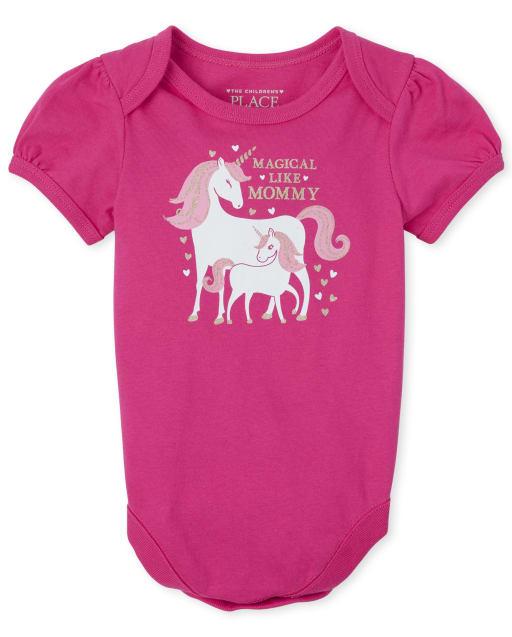Baby Girls Short Sleeve 'Magical Like Mom' Unicorn Matching Graphic Bodysuit