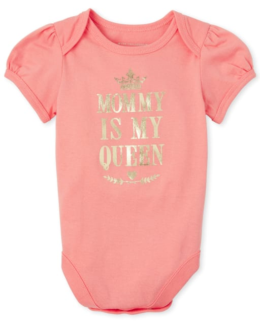 Baby And Toddler Girls Short Sleeve Foil 'Mommy Is My Queen' Matching Graphic Bodysuit