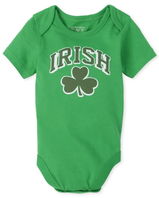 Unisex Baby Matching Family St. Patrick's Day Short Sleeve 'Irish' Shamrock Graphic Bodysuit