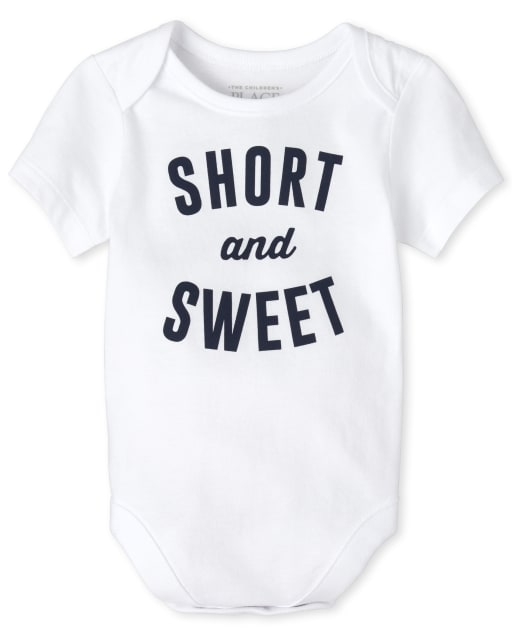 Baby Boys Short Sleeve 'Short And Sweet' Graphic Bodysuit