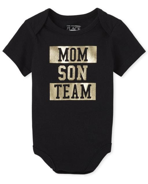 Baby Boys Matching Family Short Sleeve Foil 'Mom Son Team' Graphic Bodysuit