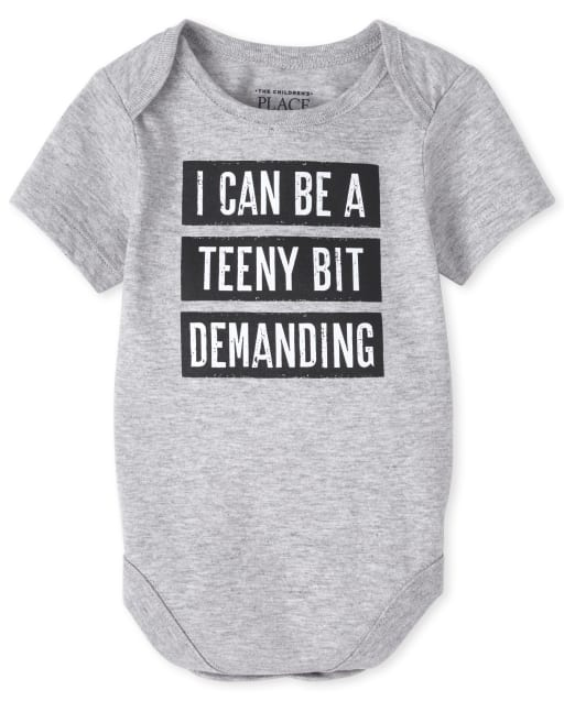 Baby Boys Short Sleeve 'I Can Be A Teeny Bit Demanding' Graphic Bodysuit