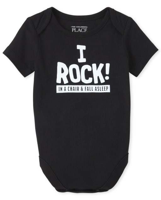 Baby Boys Short Sleeve 'I Rock In A Chair And Fall Asleep' Graphic Bodysuit