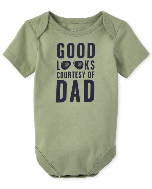 Baby Boys Short Sleeve 'Good Looks Courtesy Of Dad' Graphic Bodysuit