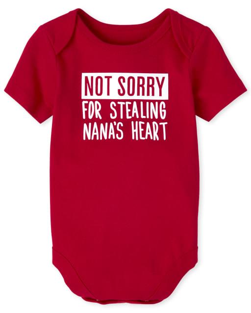 Baby Boys Short Sleeve 'Not Sorry For Stealing Nana's Heart' Graphic Bodysuit