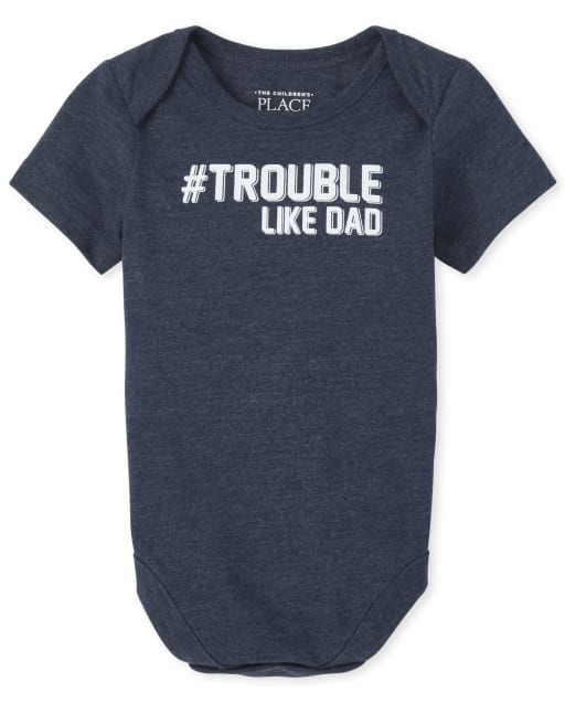 Baby Boys Dad And Me Short Sleeve 'Hashtag Trouble Like Dad' Matching Graphic Bodysuit