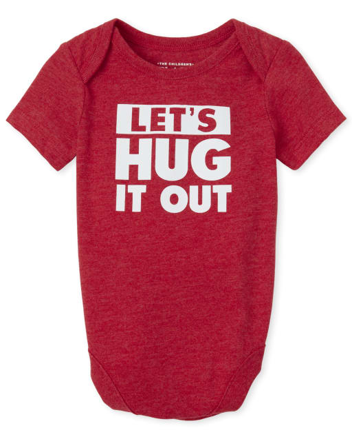 Baby Boys Short Sleeve 'Let's Hug It Out' Graphic Bodysuit
